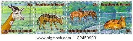 Republica Burundi - Circa 1976: A Stamp Printed In Republica Burundi Shows African Animals Gazella D