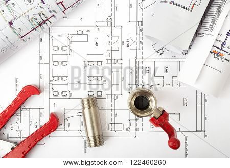 Architecture plan with turn-screw and mixer tap, top view. Building concept