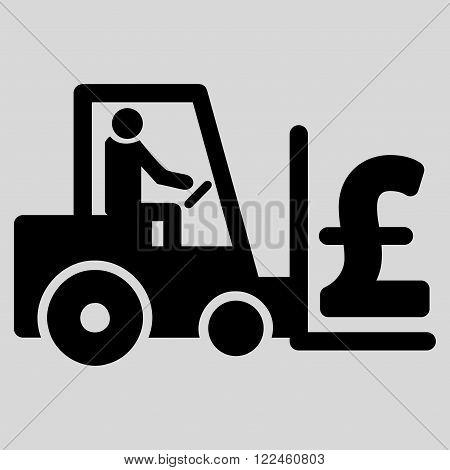 Pound Money Warehouse vector icon. Pound Money Warehouse icon symbol. Pound Money Warehouse icon image. Pound Money Warehouse icon picture. Pound Money Warehouse pictogram.