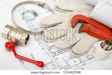 Architecture plan with gloves and turn-screws. Building concept