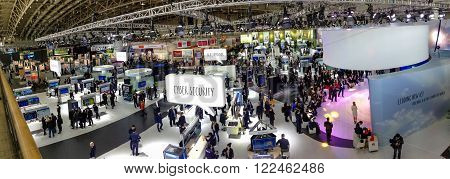 HANNOVER GERMANY - MARCH 15 2016: Hall 2 at CeBIT information technology trade show in Hannover Germany on March 15 2016.