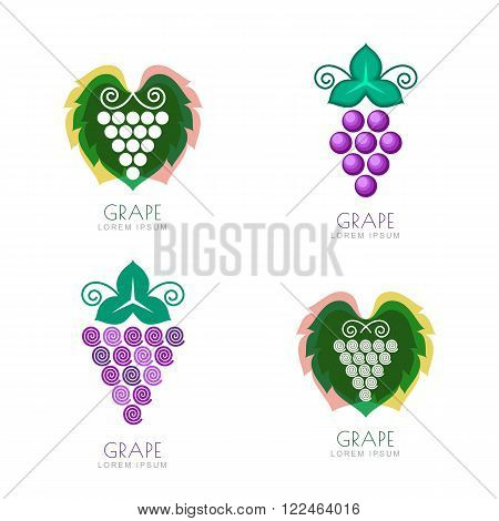 Negative Space Grave Leaf Logo Design. Concept For Winery, Wine List.