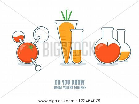 Vector Illustration Of Fruits, Vegetables With Pesticides Or Chemicals.