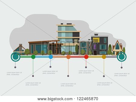 Houses and real estate time line. Infographic concept vector images.