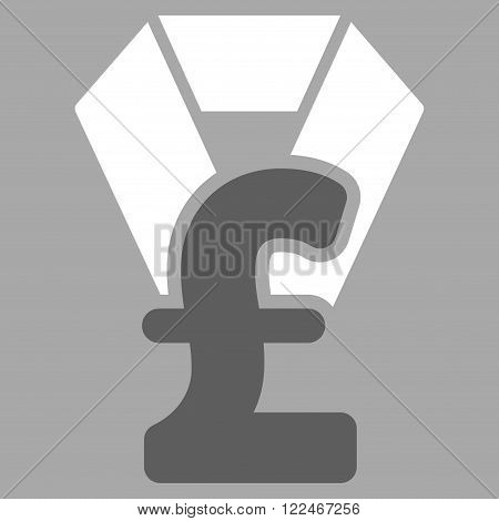 Pound Award vector icon. Pound Award icon symbol. Pound Award icon image. Pound Award icon picture. Pound Award pictogram. Flat pound award icon. Isolated pound award icon graphic.