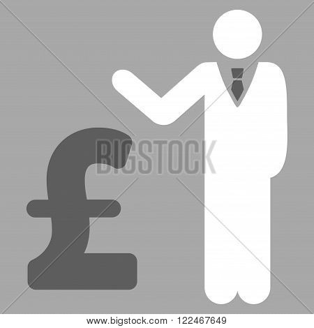 Pound Banker vector icon. Pound Banker icon symbol. Pound Banker icon image. Pound Banker icon picture. Pound Banker pictogram. Flat pound banker icon. Isolated pound banker icon graphic.