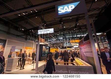 HANNOVER GERMANY - MARCH 14 2016: Booth of SAP company at CeBIT information technology trade show in Hannover Germany on March 14 2016.