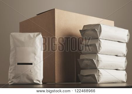 Big Blank Package Presented In Front Carton Craft Box