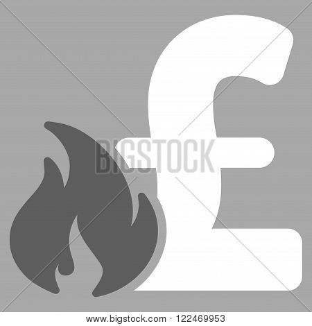 Pound Financial Fire vector icon. Pound Financial Fire icon symbol. Pound Financial Fire icon image. Pound Financial Fire icon picture. Pound Financial Fire pictogram. Flat pound financial fire icon.