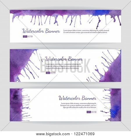 Set of hand painted watercolor horizontal banners headers. Colorful abstract blue and purple brush stocks and splashes on a white backgrounds. Modern style graphic design template. Marketing concept