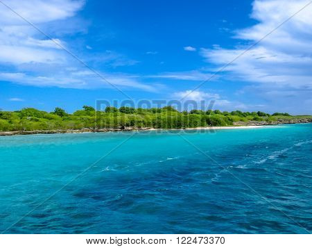 Spectacular turquoise sea in the tropical island of Guadeloupe, French West Indies, Caribbean.
