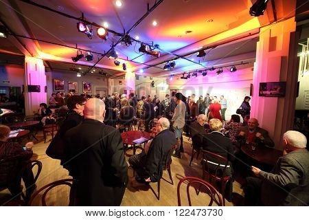 RUSSIA, MOSCOW - 14 APR, 2015: Many visitors are talking in the hall at Scenary Awards Chernykh (Slovo).