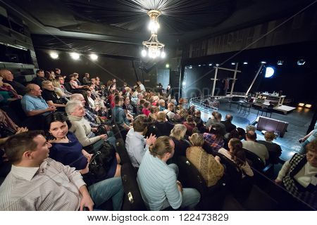 RUSSIA, MOSCOW - 15 APR, 2015: Spectators are waiting actors for performance (Kosmos) at drama theatre Modern.