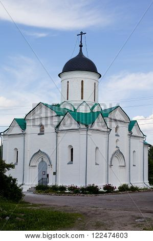 Small white orthodox church with green roof