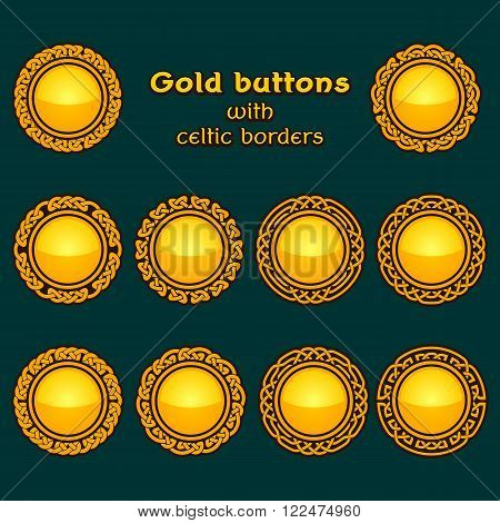 Vector set of ten golden celtic knotwork buttons on dark background