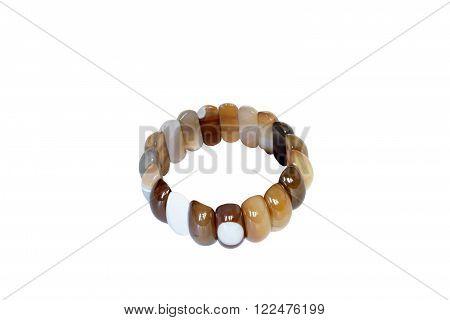 Brazilian agate bracelet. Isolate on white background