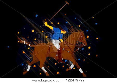 easy to edit vector illustration of polo horse player