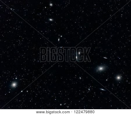 Markarian's Chain Galaxy Cluster In Virgo Captured With An Amateur Telescope