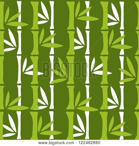 Bamboo branches pattern green tropical seamless nature.