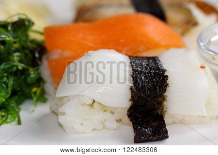 Close up of Various types of sushi fish and rice