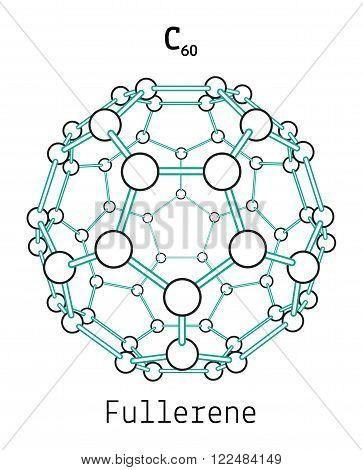 C60 fullerene 3d molecule isolated on white