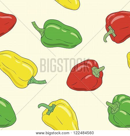 Fresh vibrant ripe yellow, green and red bell pepper. Vector seamless pattern, eps10. For backgrounds, wallpapers, wrapping paper, textile.