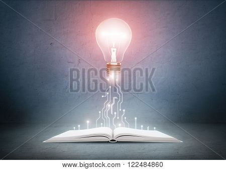 Open book and glowing light bulb over it. Knowledge and education concept