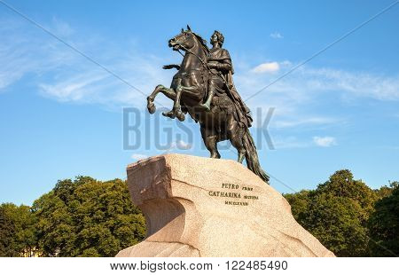 The equestrian statue of Peter the Great (Bronze Horseman) in St. Petersburg, Russia (1782)
