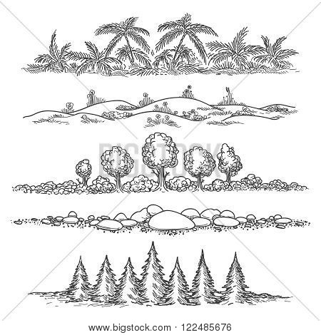 Nature doodle landscapes. Hand drawn landscapes with trees and stones, hills and palm jungle