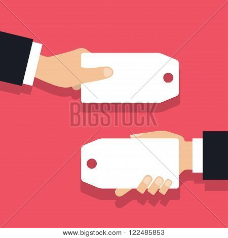Hand holding sale tag vector flat style.