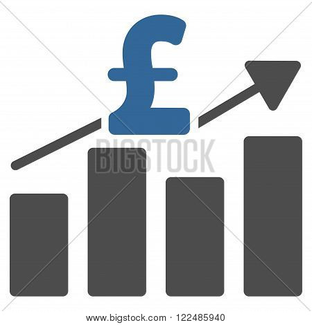Pound Business Chart vector icon. Pound Business Chart icon symbol. Pound Business Chart icon image. Pound Business Chart icon picture. Pound Business Chart pictogram. Flat pound business chart icon.
