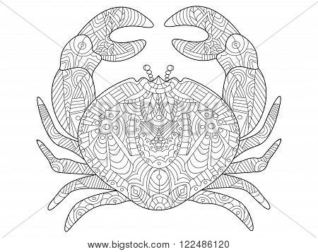Crab sea animal coloring book for adults vector illustration. Anti-stress coloring for adult. Zentangle style. Black and white lines. Lace pattern