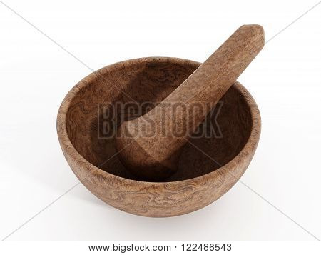 Wooden pestle and mortar isolated on white background