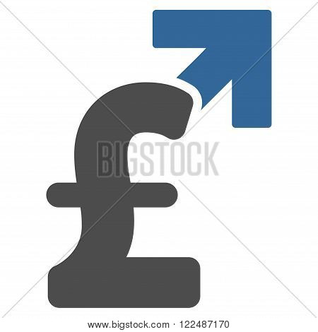 Pound Growth vector icon. Pound Growth icon symbol. Pound Growth icon image. Pound Growth icon picture. Pound Growth pictogram. Flat pound growth icon. Isolated pound growth icon graphic.