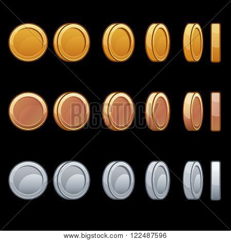 Cartoon Rotation animation coin turns around frame by frame gold silver bronze