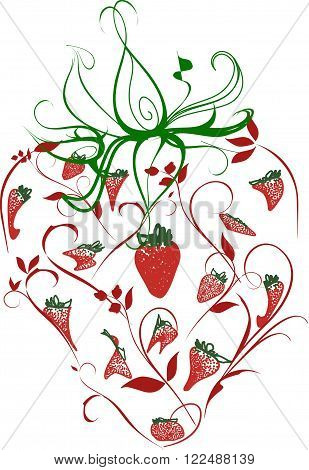 An ornate image of a strawberry and its leaves consisting of various strawberry forms