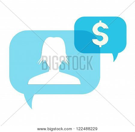 the illustration of two blue overlapping speech bubbles with head silhouette and dollar pictogram