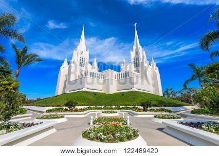 LA JOLLA, CALIFORNIA - FEBRUARY 27, 2016: The San Diego California Mormon Temple. The building was finished in 1993.