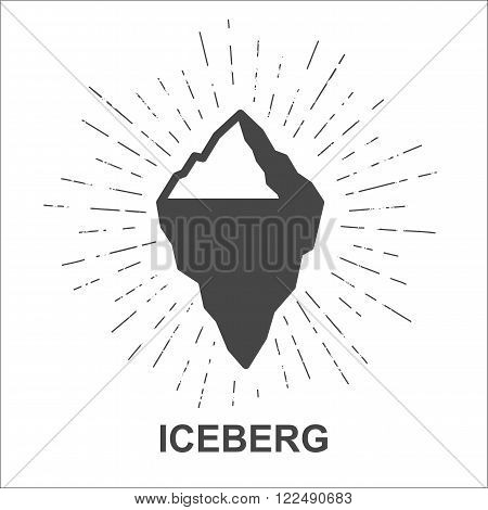 Iceberg - Monochrome hipster grunge vintage label for poster, flyer or t-shirt print with iceberg, starburst and rays - vector illustration