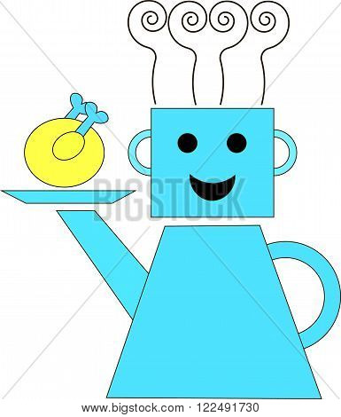 Cook in a kettle and the pot holds a hand-spout tray with fried chicken. From steaming pots in the form of a cap chef. It can be used as logo. Vector drawing