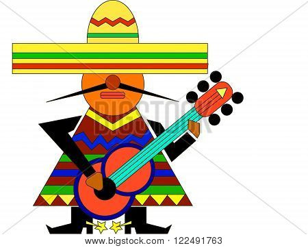 Mexican wearing a sombrero, poncho and boots with spurs plays guitar. The concept of the typical national traditions and tourism. Mexico