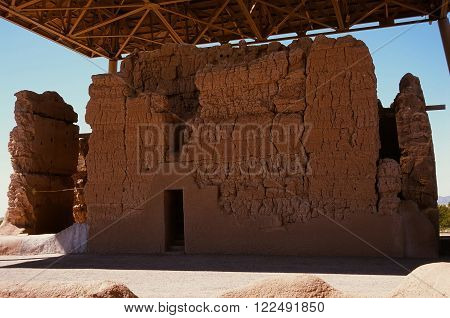 Casa Grande Ruins National Monument of the Precolumbian Hohokam Indians in Arizona USA