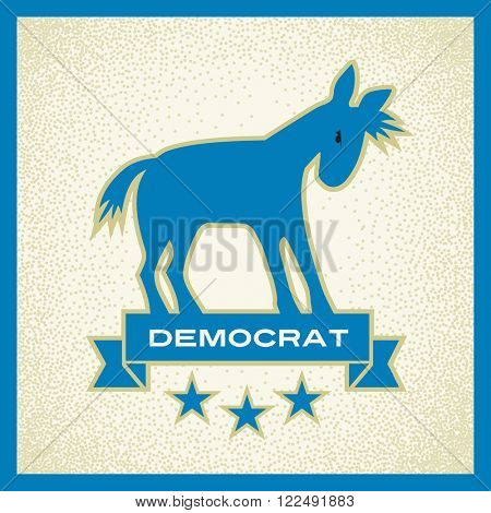 democrat donkey blue political election vector design