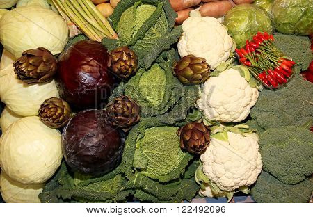 Composition Of Cabbage, Red Cabbage, Cauliflower, Potatoes, Turnips And Artichokes