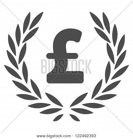 Pound Laurel Wreath vector icon. Pound Laurel Wreath icon symbol. Pound Laurel Wreath icon image. Pound Laurel Wreath icon picture. Pound Laurel Wreath pictogram. Flat pound laurel wreath icon.