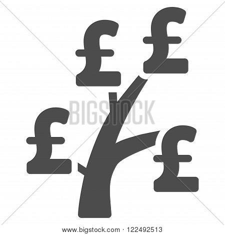 Pound Money Tree vector icon. Pound Money Tree icon symbol. Pound Money Tree icon image. Pound Money Tree icon picture. Pound Money Tree pictogram. Flat pound money tree icon.