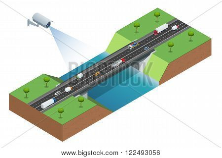 Security camera detects the movement of traffic. CCTV security camera of traffic jam with rush hour. Traffic 3d isometric vector illustration. Traffic monitoring CCTV