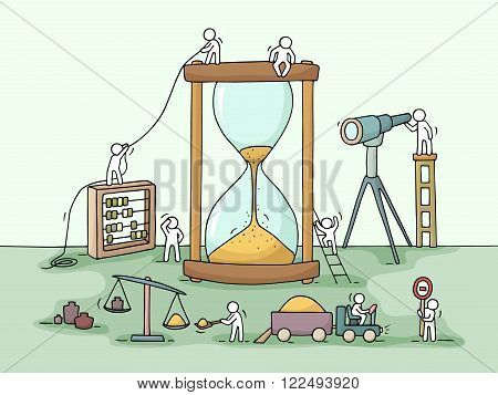Sketch of sandglass construction with working little people sand spyglass. Doodle cute miniature of teamwork and deadline. Hand drawn cartoon vector illustration for business design and infographic.