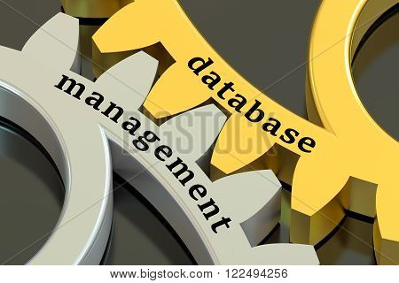 Database Management concept on the metallic gearwheels