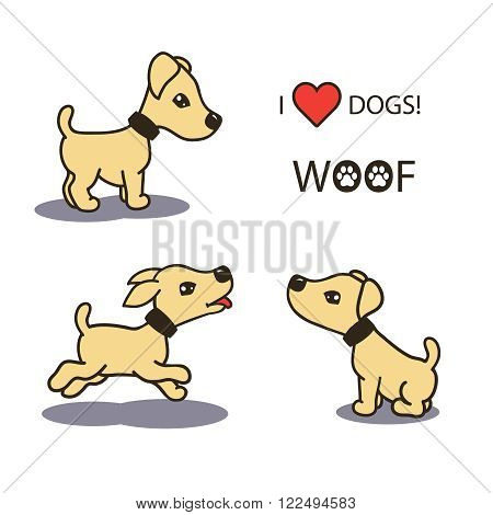 set collection of cute cartoon illustrations of a happy playful puppy baby dogs. isolated with shadows and text on white background. vector illustrations.